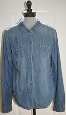 LEI JUNIORS L (11/13) BLUE CHAMBRAY BUTTON FRONT SHIRT LONG W/ ROLL SLEEVES EUC