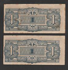 2pcs Malaya Japanese 1 Dollar SHIFT LEFT Letter MS - AUNC (Foxing only)