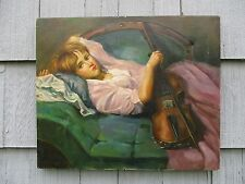 Vintage Modern Signed Oil on Canvas of Young Girl with Violin