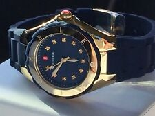 NWT MICHELE Tahitian Jelly Bean Navy Blue Gold Plated Watch MWW12P000004 $345