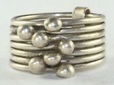VTG MEXICAN STERLING SILVER 7 CONNECTED STACKED RINGS WITH BALLS SIZE 7.5-8