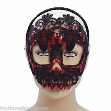 Halloween Mexican Day Of The Dead Red Black Lace Sugar Skull Mask Día de Muertos
