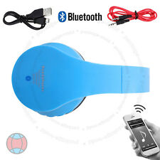 Foldable Wireless Bluetooth 4.2 Stereo Headphones Handsfree Blue with Cable DCUK