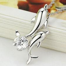 Exquisita Cadena Joyería De Plata Plateado Colgante Doble Delfín Manera Collar