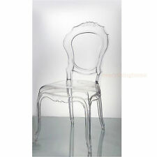 CLEAR TRANSPARENT GHOST VANITY DINING CHAIR FRENCH TRADITIONAL POLYCARBONATE