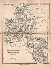 Contea di Hall 1860-FERROVIE Mappa Oxfordshire, wathington, WOODSTOCK, Banbury, WIT
