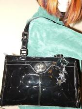 COACH 14413 Black Patent Leather Embossed Carryall Shoulder HandBag  NICE