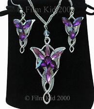 Evenstar silver collier + boucles d'oreilles violet LOTR Seigneur des Anneaux Hobbit arwen
