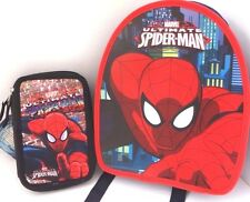 Marvel Ultimate Spider-Man Boy's Backpack and Triple Compartment Pencil Case NEW