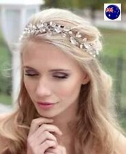 Women Wedding flower girl Bride Crystal look Hair band head piece garland