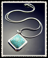 """FREE 18KGP Turquoise Strip Tibetan silver snake chain With Clasp Necklace 16.5"""""""