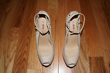 "Women's JUST FAB Tan Embellished ""Naples"" Heels Sz 7.5 MUST SEE!!!"