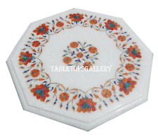 "24"" Marble Coffee Table Top Rare Carnelian Inlay Mosaic Floral Octagon Deco H964"
