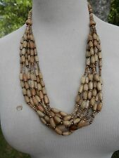 ISLAND GIRL VINTAGE 80'S MULTI WOOD STRANDS EARTHY NECKLACE....