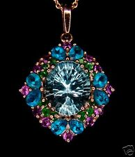 7.17ct Genuine Sky Blue Topaz with Multi-Gem Accents 925 Sterling Silver Pendant