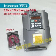 【USA Stock】 2.2KW 3HP Inverter VFD 220V VSD Variable Speed Driver Single Phase