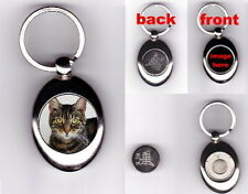 TABBY CAT TROLLEY COIN TOKEN KEYRING ANIMAL PET LOVER PHOTO GIFT