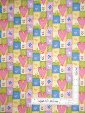 Heart Fabric - Hearts Flowers Patch Northcott #2099 Ro Gregg Hip Hop - YARD