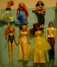 BARBIE Disney Princess LOT ELSA, BELLE, ERIC, RAPUNZEL Dolls with Clothes