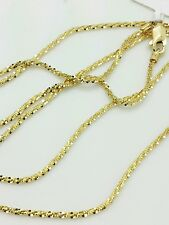 "14k Solid Yellow Gold Diamond Cut Sparkle Necklace Chain 20"" 1.1mm"