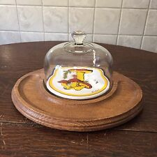 Fab Vintage Goodwood Cheese Dome & Wooden Cracker Board w/ Mushroom Motif