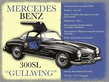 Mercedes Benz 300SL Gullwing, Classic Sports Car, Large Metal/Tin Sign, Picture