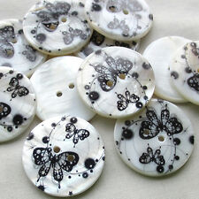 New 12pcs Shell Buttons 30mm Butterfly Sewing Craft Mix Lots Wholesales