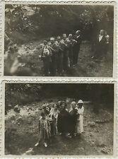 PHOTO ANCIENNE - VINTAGE SNAPSHOT - GROUPE QUEUE LEU LEU PLONGÉE GAG DRÔLE 1932