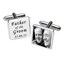 Personalizzato Argento Placcato Inciso Padre Dello Sposo Gemelli foto Bianco