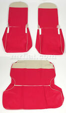 Fiat 500 F/R Red Seat Covers Cream Trim New