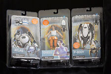 """NECA Valve Portal 2: Atlas, P-Body and Chell Complete Set NEW IN PACKAGE 7"""" LED"""