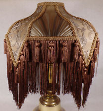 Brand New Mocha Bridge Victorian Fringed Uno Fabric Poly Blend Lamp Shade