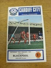 31/01/1970 Cardiff City v Blackpool  (Team Changes). Unless stated previously in