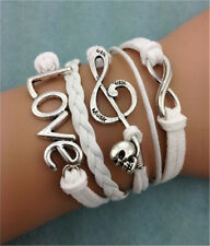 Infinity Love Music Skull Friendship Silver Leather Charm Bracelet Plated Silver