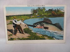VINTAGE EXAGGERATION POSTCARD FISH EATING A MAN SOLON SPRINGS WISCONSIN 1934