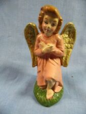 "VINTAGE PAPER MACHE ITALY NATIVITY PINK 4"" WITH EXPOSED KNEE ANGEL"