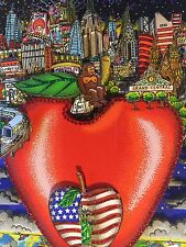 "Charles FAZZINO: original 3D ""CENTER OF THE APPLE"", signiert, A/P, + RIZZI Pin"