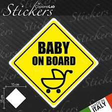 Adesivo Stickers Segnale Sign BABY ON BOARD CULLA a bordo auto moto