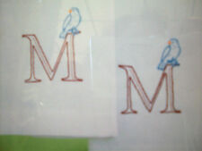 Martha Stewart Tea Towel with Blue Birds monogram initial to embroider kit