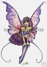 Amy Brown Print Fairy Faery Sweet Pea Pink Purple Pixie Cute Young