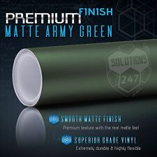 "Matte Flat Army Green Vinyl Wrap Film Decal Bubble Free Air - 12"" x 60"" In"