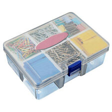 Portable Plastic 6 Compartments Storage Container Organizer Tools Box Case