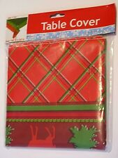 NIB Reindeer & Tree Holiday plastic table cover FREE SHIPPING