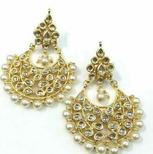 Beautiful Indian Style Pearl Kundan CHANDBALI  Earrings