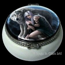 *PROTECTOR* Wolf Art Ceramic Mini Trinket Box By Anne Stokes (5.5cm)