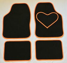 BLACK CAR MATS WITH ORANGE HEART HEEL PAD FOR MINI ONE COOPER S CLUBMAN PACEMAN
