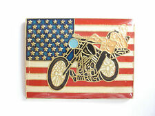 99p SALE RARE VINTAGE USA FLAG HARLEY DAVIDSON MOTORCYCLE CHOPPER BIKE PIN BADGE