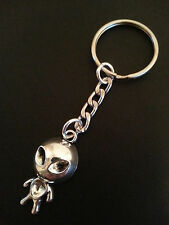 New Bright Silver Tone Metal Alien Keyring Keychain Bag Charm