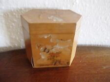 VINTAGE UNUSUAL ORIENTAL VENEER ETCHED HANDPAINTED ANGULAR BOX & LID BUTTERFLY