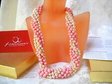 MULTI-FUNCTIONAL MAJORCA PEARL NECKLACE PINK OPAL/LIGHT PINK COLOR faux majorica
